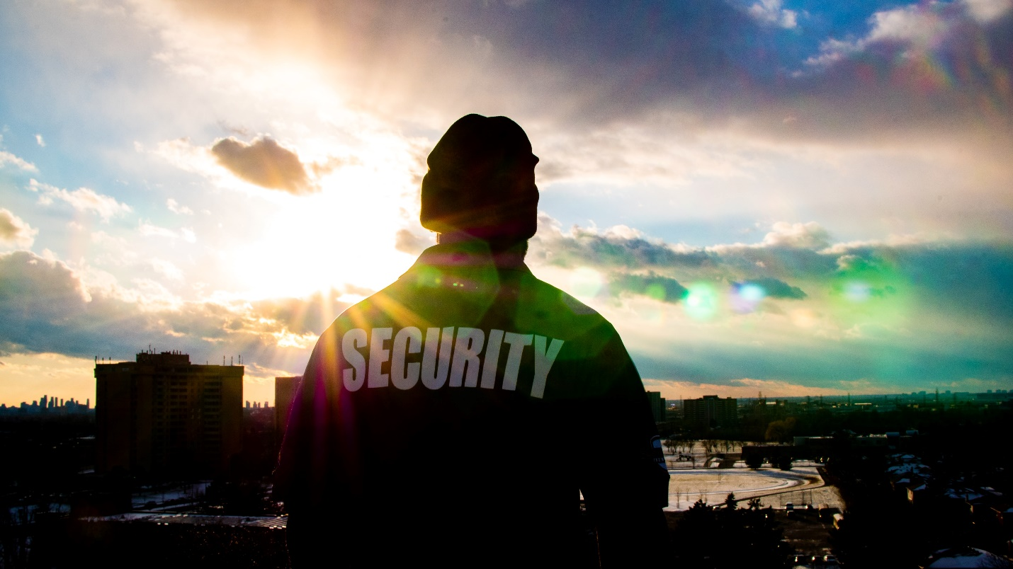 Security guard at their post in the early morning