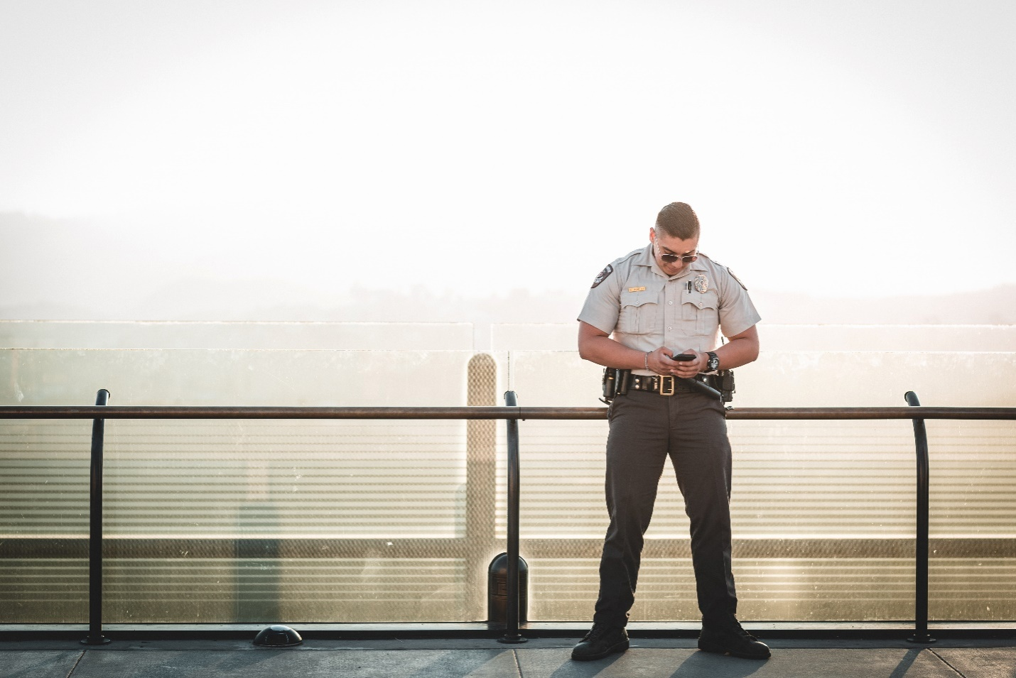Security guard standing at their post