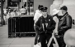 Armed security patrolling